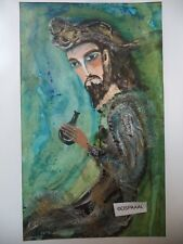 Cuba CHAMART Artist Charo Hand SIGNED Painting PIRATE DRINKING RUM MEAN LOOK PJ