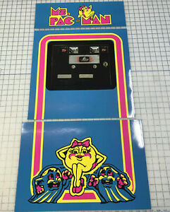 Arcade1up Cabinet Riser Graphics - Ms PacMan coin door Graphic Sticker Decal Set