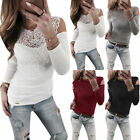 Women Lace Cold Shoulder T Shirts Ladies Long Sleeve Casual Slim Fit Blouse Tops