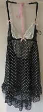 Victoria's Secret Black & White Dot BUBUSETTETE Chemise & Tanga Lingerie Set Piccolo