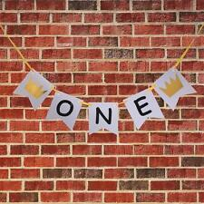 One Crown Banner Baby 1st Birthday Party Garland Garden Party Hanging String