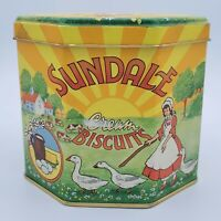 Vintage Tin Container Sundale Cream Biscuits Yellow Orange Octagon Shape