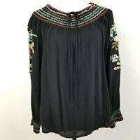 UMGEE Womens Boho Top Black Floral Long Sleeve Jewel Neck Tie Front Blouse L