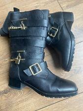 Carvela @ Kurt Geiger Black Leather Biker Strap Gold Chain Mid Calf Boots 6 39