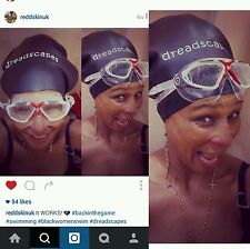 Medium sized Black Dreadlock Swim cap - Swimming cap for dreads, swimming hat