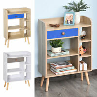 Multi-Shelf Bookcase Freestanding Storage w/ Drawer Shelves Wood Legs Oak/White