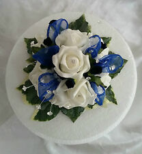 Artificial Flowers Wedding, Ivory,Royal Blue Cake Topper,Thistles,Hand-Crafted,