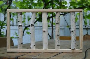 White birch wall  Framed birch birch stand natural log modern rustic decor Weddi