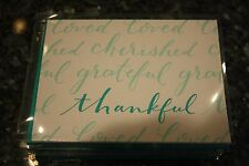 NWT 20 Carlton white & teal Thank you note cards loved, cherished, grateful