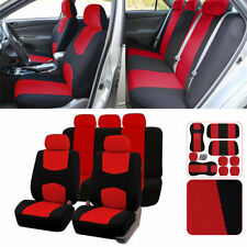 Universal Car Seat Cover Full Set All Season 5-Seat Protector Black & Red Canvas