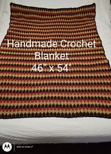 BEAUTIFUL VINTAGE HANDMADE CROCHET AFGHAN BLANKET THROW MULTICOLOR RED BROWN TAN