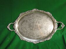 Large Tray Silver Plated, English Shell Border Engraved Face 1860 Gadroon Style