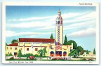 VTG 1939 New York Worlds Fair Linen Florida Building Sky View People Trees A1