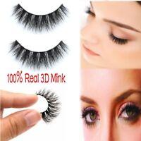 100%Real Mink Natural Thick False Fake Eyelashes Eye Lashes Makeup Extension EE