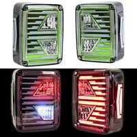 Brake+Reverse+Turn Signal Green Clear LED Taillight fit 07-18 Jeep JK Wrangler
