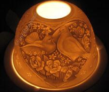 Porzellan Windlicht Dome Light Turteltäubchen Tauben Liebespaar Hochzeit Weiß