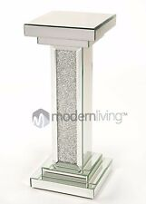 Glitz Mirrored Glass Crushed Crystal Diamonds Column Table