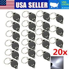 20x Bright Mini White Keychain LED Light Lamp Key Ring Flash Flashlight Torch