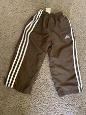 Adidas Boys Size 3T Sweatpants Brown White Stripe Active Elastic Waist
