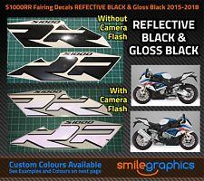 BMW S1000RR Fairing Decals. 2015-18 - Reflective Black & Gloss Black Stickers