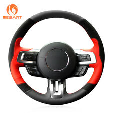 Black Suede Red Leather Steering Wheel Cover Wrap for Ford Mustang GT 2015-2017