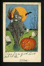 Halloween postcard Unknown UN14-2 1of2 Witch JOL grave yard bat fantasy Vintage