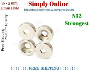 10 PCS N52  10mm × 3mm 3mm Hole Strong  Round Disc Magnet Rare Earth Neodymium