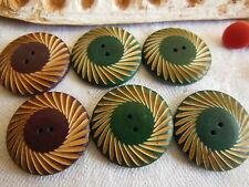 panaché 6  boutons anciens  en bois teint ciselé  2,3 cm 1940/1950 ref 1727