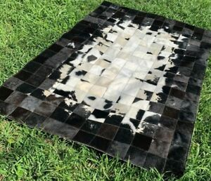 COWHIDE PATCHWORK CARPET AREA Leather RUG Cow hide Black & White 6ft x 4ft
