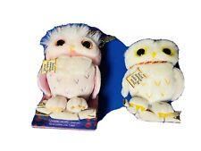 "Lot Of 2 Harry Potter Messaging Owl Plush 4"" w Chain Secret Note 074299886652"