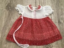 Vintage Girls Dress Toddler 50s Sheer Red Christmas Party Flocked Holiday