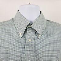 Paul Stuart Mens Green Blue Mini Check L/S Dress Button Shirt Sz 15.5 - 34