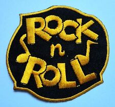 YELLOW ROCK 'N' AND ROLL MUSIC LOGO EMBROIDERED IRON ON PATCH Free Shipping