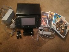 black nintendo Wii U Console, 32GB, Bundle with 4 Games
