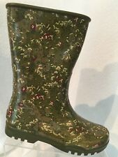 Sperry Top Sider Green Floral Waterproof Rubber Rain Boot Womens 6 Casual Flower