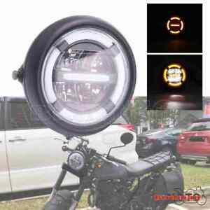 7 inch Universal Retro Motorcycle LED Headlight Lamp DRL For Harley Cafe Racer