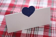 10 WHITE NAME PLACE CARDS WITH ROYAL BLUE GLITTER HEART
