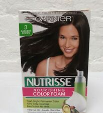 GARNIER Nutrisse Nourishing Color Foam 3 Darkest Brown Permanent Hair Dye Read
