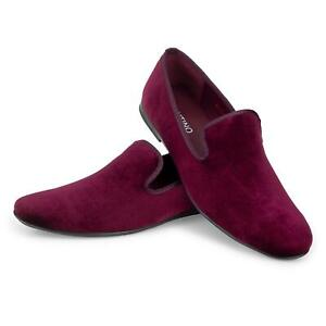 New Mens Velvet Red Sneakers Loafers Burgundy Formal Casual Moccasin Shoes UK