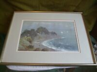 ANTIQUES JAPANESE WATERCOLOUR COASTAL SCENE WITH FIGURES BY FUKUTARO TERAUCHI