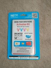 Net10 Wireless Bring Your Own Phone Activation Kit( 4 New Sim cards Included)