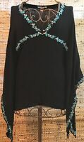 Forever 21 Black Flutter Shirt Embrioder Flowers Flowy Sleeve Boho Style Size S