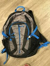 New listing Eddie Bauer Black Silver and Blue Backpack with Adjustable Straps