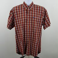 Chaps Ralph Lauren Men's Red Blue Check Plaid S/S Casual Button Shirt Sz Medium