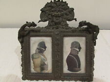 RARE ANTIQUE BRONZE FRAME WITH BACCHUS AND DRAGONS