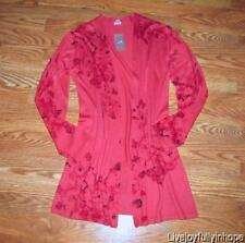 J. JILL ~ New NWT Size XS ~ Red ROSES SILK & CASHMERE Open Front Cardigan Topper