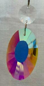 Oval Crystal shape Suncatcher Window Hanging Rainbow Pendant Home Decor Garden