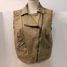 Chord Brand Sleeveless Jacket Denim Green Zipper Gold Tone Spikes~Shoulder Pocke