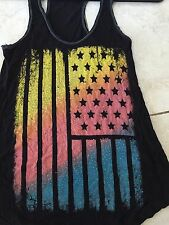 The Classic Tank Top Adult Small As Us Flag Bling Shirt Ladies Patriotic America