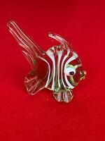 Vintage Sea Glass Baron Green Painted ANGEL FISH Ornate Tail Miniature ❤️sj3j